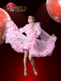 Light Pink Beautiful Dancing Queen Organza Dress  Entertainer Ruffle Boa Coat
