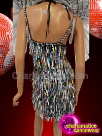 CHARISMATICO Silver sequinned beaded diva show girl costume set