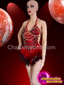CHARISMATICO Red black feathered diva sequinned show girl dance dress
