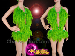 CHARISMATICO Green Feathered Sequinned Diva Show Girl Show Time Leotard