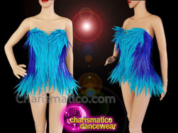 CHARISMATICO Blue gradient feathered diva show girl show time corset