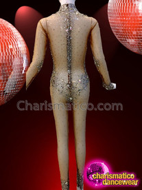 CHARISMATICO Sexy Crystallized Diva Show Girl Show Time Cat Suit