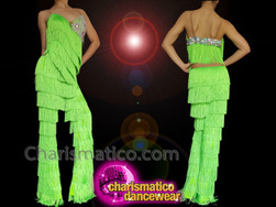 CHARISMATICO Lime Green Crystallised Fringed Sequinned Salsa Pants