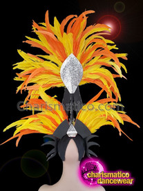 CHARISMATICO Yellow Orange Feather Silver Sequinned Diva Headdress