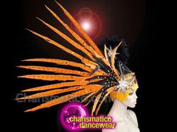 CHARISMATICO Orange feathered gold sequinned diva pheasant headdress