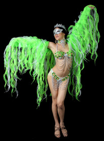 Light Green Tissue Organza Drag Queen Ruffle Party Jacket