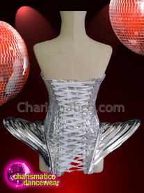 CHARISMATICO Silver sequinned gaga futuristic abstract body con corset