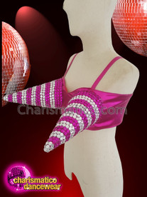 CHARISMATICO Fuchsia Silver Sequinned Crystallised Show Girl Spiky Bra