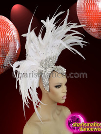 CHARISMATICO White feathered sequinned crystallised diva show girl headdress