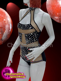 CHARISMATICO Diva crystal show girl black and beige leotard