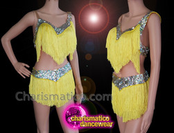 CHARISMATICO Latin Yellow Fringed Silver Sequinned Top And Shorts