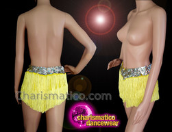CHARISMATICO Yellow Fringed Silver Sequinned Latin Diva Shorts