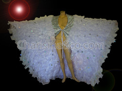 Gorgeous butterfly white Organza CABARET MAGIC Drag queen Ruffle WING Coat