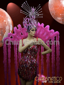 Exotic Fuchsia Cabaret Drag Queen Dress + Feather  Boa Collar+ Headdress Set