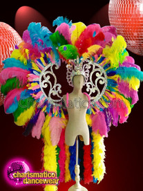 CHARISMATICO Gay Pride Rainbow Feathered Ostrich Wing Set With Headdress