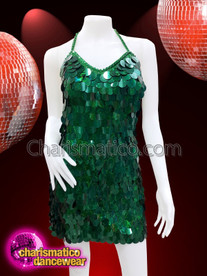 CHARISMATICO Emerald green sequinned bodycon fit and flare show time dress