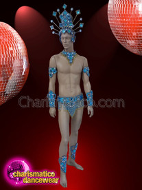 CHARISMATICO Blue and silver sequinned men diva samba costume set