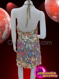 CHARISMATICO Multi-Coloured Diamond Cut Diva Showgirl Sequin Dress With Halter Neck