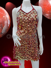 CHARISMATICO Red Diva Showgirl Sequinned Dress With Silver Sequins And Halter Neck