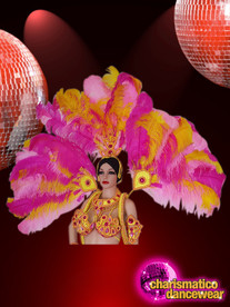 CHARISMATICO Floral Pink And Yellow Sunshine Peacock Style Samba Headdress
