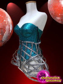CHARISMATICO The Sparkling Blue Coloured Top With Designer Steel Caged Hips