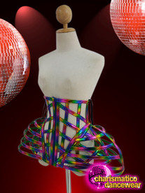 CHARISMATICO Rainbow coloured cross caged designer skirt with blue laces