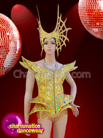 CHARISMATICO Glam show girl golden dress and complimentary funky golden headdress