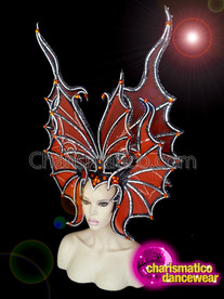 CHARISMATICO Spooky And Thrilling Orange Halloween Headdress With Black And Sparkling White Borders