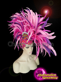 CHARISMATICO Pink and Purple Mohawk Feather Diva Headdress
