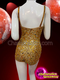CHARISMATICO Gold Mirror Studded Leotard With Sequins