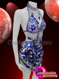CHARISMATICO Royal Blue halter neck sequinned dress with crystals