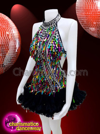 CHARISMATICO Rainbow Gay Pride Teardrop Sequin Showgirl Dress
