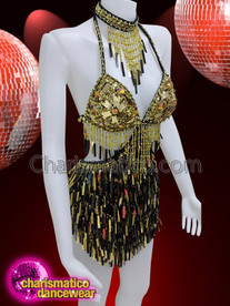 CHARISMATICO Gold and black sequin Diva showgirl dress