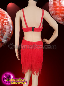 CHARISMATICO Red coloured fringe catsuit with sequinned and crystal studded bodice