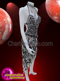 CHARISMATICO Silver And Black Sequin Latin Salsa Diamond Dress