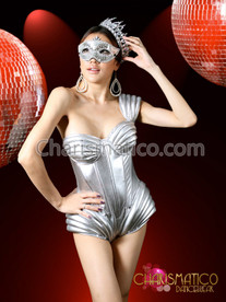 Silver Space Age Sexy Lady Gaga Outfit Show Girl Sequin Bodysuit Leotard