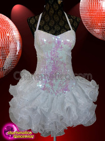 CHARISMATICO white sequined backless organza dress with skirt