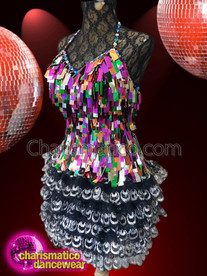 CHARISMATICO Multicolored Sequined Halter Neck Dress With Ruffled Skirt