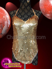 CHARISMATICO halter neck string tie one-piece sequin gold leotard
