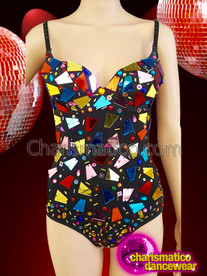 CHARISMATICO Multi Colored Rainbow Spaghetti Strap Leotard With Broke Glass Details