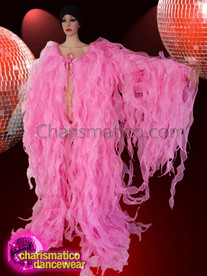 CHARISMATICO Sexy, Layered Fuchsia Tissue Drag Queen Ruffle Coat