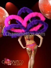 Purple Pink Sexy dancer shoulder piece FEATHER CABARET Backpack Collar