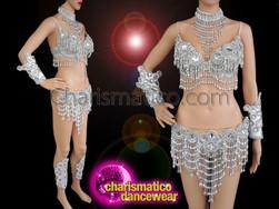 CHARISMATICO Samba Beaded fringe style bra and thong set in sequin
