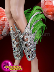 CHARISMATICO  Samba styled leg cuffs in silver and green for every dancer