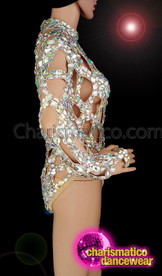 CHARISMATICO Mesmerizing, Crystallized Body-Hugging Leotard With Zipper For Show Girls