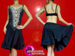 CHARISMATICO Gorgeous Latin Black Circular Skirt Dress With Silver Sequins