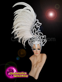 CHARISMATICO  Diva white headdress with feathers and silver studded crown