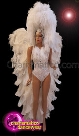 CHARISMATICO White Showgirl Costume Set With Headdress, Wings And Studded Corset