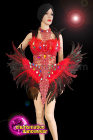 CHARISMATICO  Red And Black Phoenix Bra And Belt With Feathers And Rainbow Studs