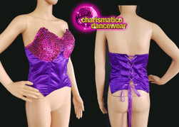 Diva show girl purple fuschsia sequinned dance corset Clearance US 2 - 6